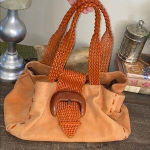 Carlos Falchi leather large shoulder bag
